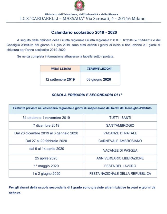 Calendario Maggio Giugno 2020.Calendario Anno Scolastico 2019 20 Scuola Elementare Via